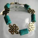 Steampunk: Turquoise barrels and 'Celtic Knot' Bracelet